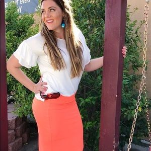 Spring Orange pencil skirt